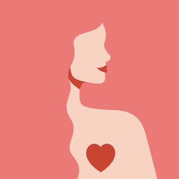 Silhouette woman with love in her heart. Girl with long pink hair and red lips in profile view. Self-care and body-positive concept. St Valentine's day card.