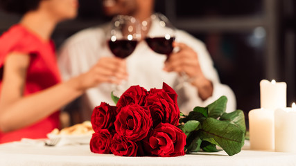 Unrecognizable Couple Clinking Glasses Celebrating Valentine's Day In Restaurant, Panorama