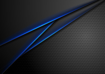 Fotobehang - Futuristic perforated technology background with blue glowing lines. Vector design