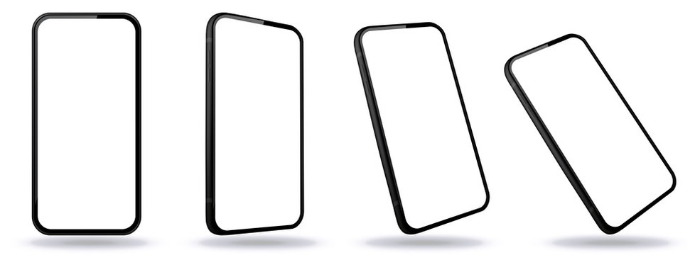Mobile Phone Vector Illustrations From Different Angles and Perspectives with Frameless White Screen