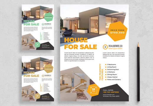 Flyer Layout with Hexagonal Elements