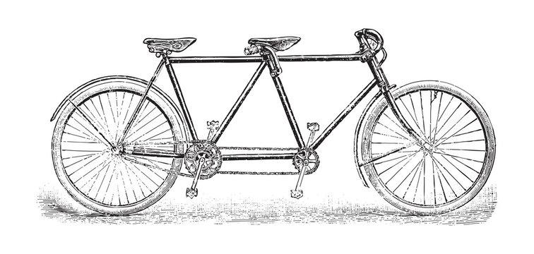 Old bicycle - tandem bicycle / vintage illustration from Brockhaus Konversations-Lexikon 1908