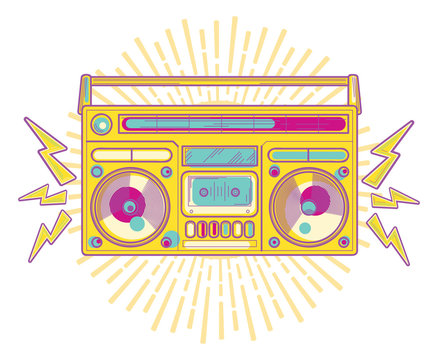 Colorful funky musical boom box