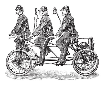 old fire brigade bicycle / vintage illustration from Brockhaus Konversations-Lexikon 1908
