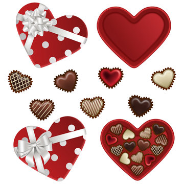 isolated heart shaped boxes with chocolates for valentine's day