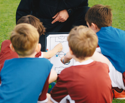 Coach teaching kids on soccer training unit. Young boys sitting together with coach on grass pitch. Children learning soccer strategy using coach tactic board