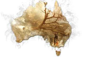 Wall Mural - Australian map with smoking bushes and trees after fire isolated on white background. Concept of bushfires in Australia.