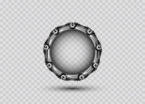 3D portal gate concept alien construction isolate on transparent background. Spatial entrance time machine