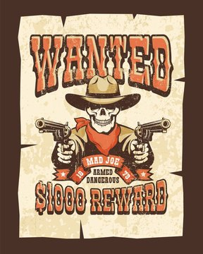 Wanted western poster with skull bandit with pistols. Vector vintage illustration