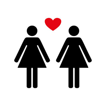 Female and female sign, lesbian family red heart.