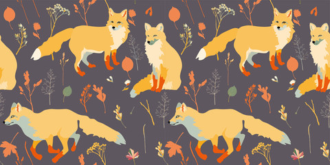 Three red foxes on a brown background seamless vector illustration. Picture with forest animals. Endless pattern.