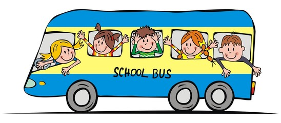 Blue bus with school children, funny vector illustration. Group of happy kids at windows of bus. Color picture on white background.