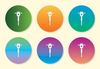 Jackhammer six color gradient icon design.