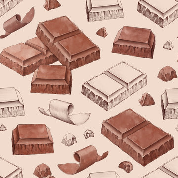 Hand drawn illustrations of chocolate bar. Seamless pattern