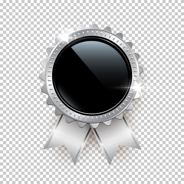 Vector silver seal with ribbons isolated on transparent background.