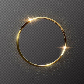 Golden sparkling ring with golden glitter isolated on transparent background. Vector golden frame.