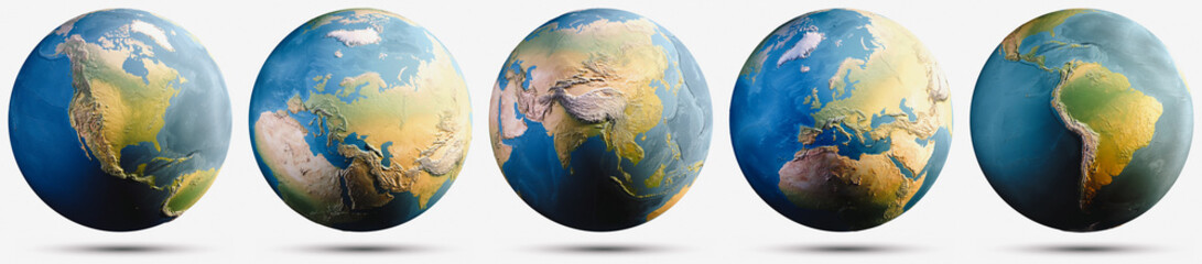 Wall Mural - Planet Earth globe map set