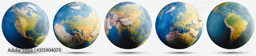 Wall mural Planet Earth globe map set