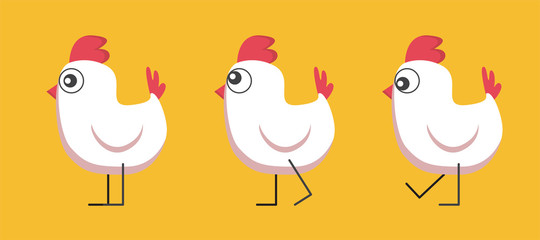 Set of pictures of a funny chicken. The chicken walks, looks in different directions. Mascot.