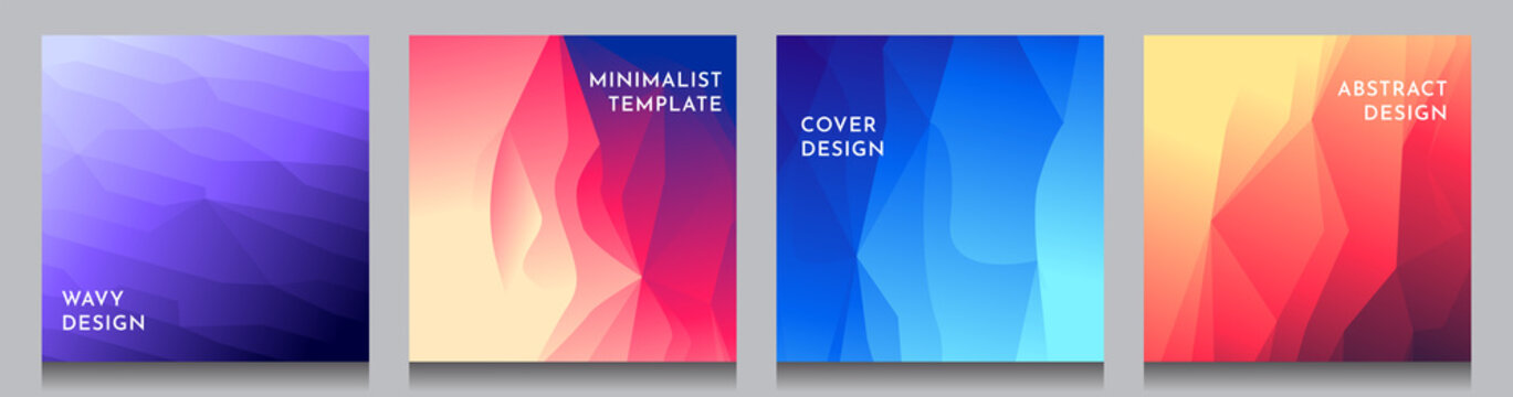 Abstract vector geometric triangle background. Minimalistic color gradient lines. Set of vibrant wallpapers. UI design. Polygonal covers layouts. Future concept. Social media, blog post template