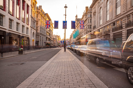 London's Regent Street at late afternoon