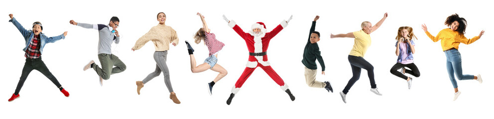 Jumping Santa Claus on white background