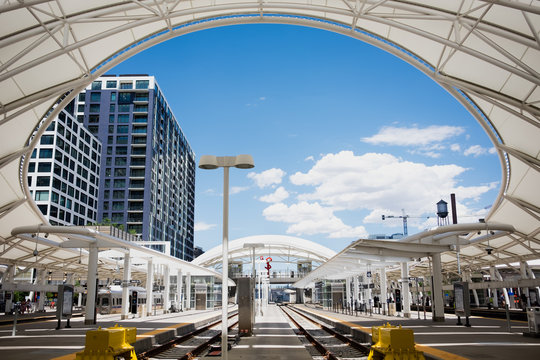Union Station lightrail tracks in Downtown Denver