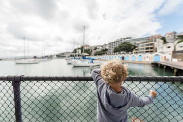 Toddler boy looking over fence by the ocean