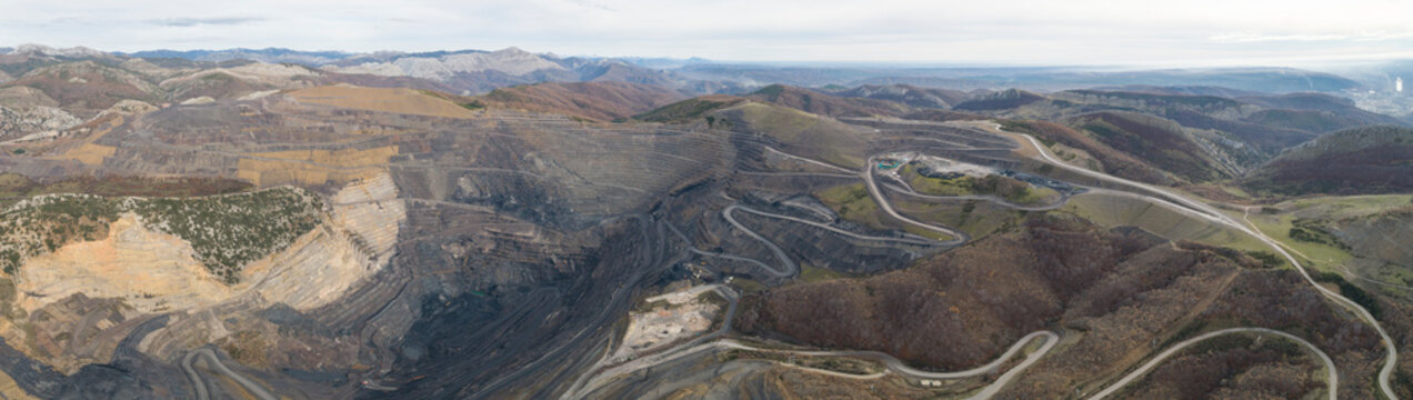 Coal mining from aerial view in Panoramic