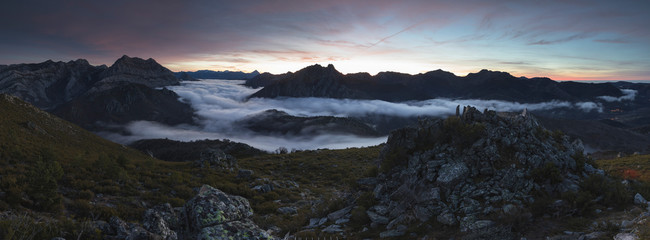 Mists at sunrise from the top of some mountains