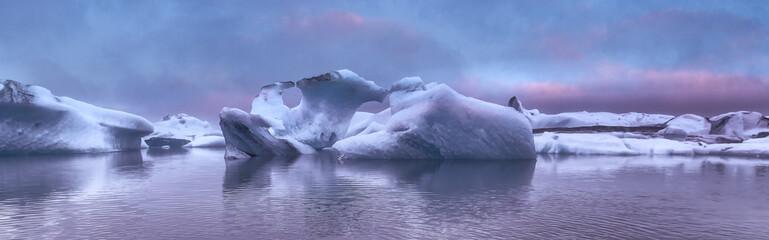 The Iceberg lagoon at sunset