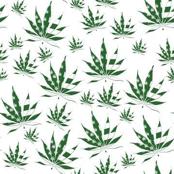 Green USA Marijuana leaf seamless and repeat pattern background