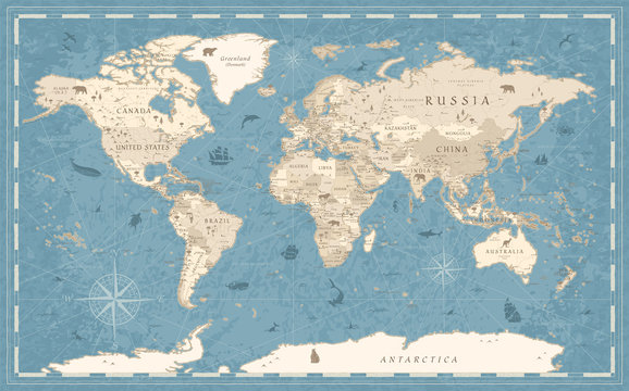 World Map Vintage Old-Style - vector - blue and beige
