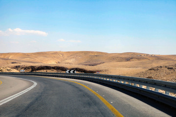 highway that runs along the Dead Sea from one side and Edom Mountains at Arava Desert from the other in Israel. Wall mural