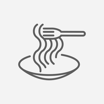 Spaghetti pasta food icon line symbol. Isolated vector illustration of icon sign concept for your web site mobile app logo UI design.