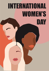 International Womens Day. Vector illustration of women with different skin colors.