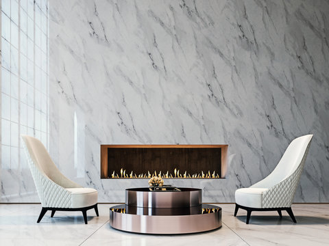 Luxury white marble mock-up wall with tufted white armchairs, brushed metal coffee table and modern built-in fireplace, living room, 3d render, 3d illustration
