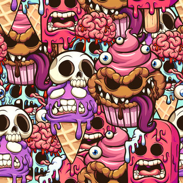Monster desserts seamless pattern cartoon. Vector clip art illustration with simple gradients. Some elements on separate layers.