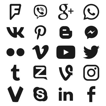 VORONEZH, RUSSIA - JANUARY 05, 2020: Set of black popular social media icons: youtube, instagram, twitter, facebook, whatsapp, pinterest, snapchat, vimeo, google+, skype, viber and others
