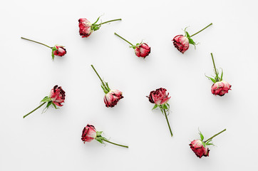 Poster Bloemen Vintage floral background made of dried red roses on white background. Flat lay, overhead.