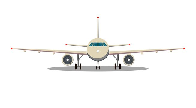 Airplane front view. Passenger or commercial jet isolated on background. Aircrfat in flat style. Vector illustration