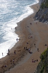 Durdle Door holiday destination near Dorset in south of England during summer
