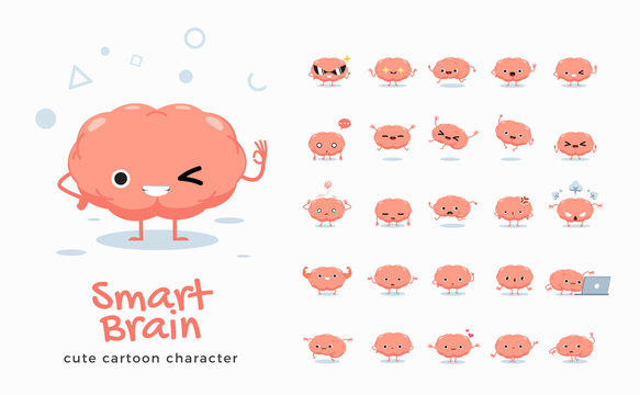 Vector set of cartoon images of Brain. Vector Illustration.