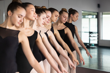 Group of seven ballet dancers standing together in dance studio