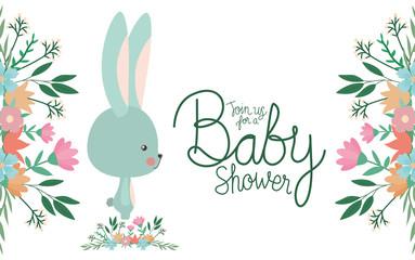 Baby shower invitation with rabbit cartoon vector design