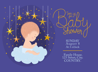 Baby shower invitation with cute baby cartoon vector design