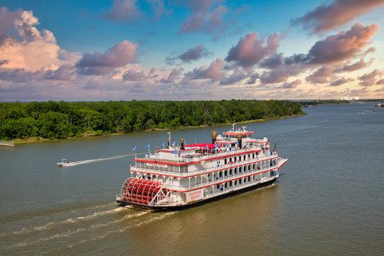 Georgia Queen Sailing Savannah River at Dusk