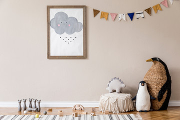 Stylish scandinavian kid room with mock up poster, toys, teddy bear, plush animal, natural pouf and...