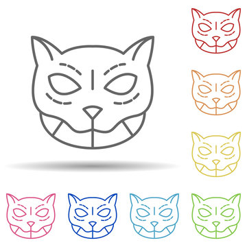 cat, mexico multi color style icon. Simple thin line, outline vector of day of the dead icons for ui and ux, website or mobile application
