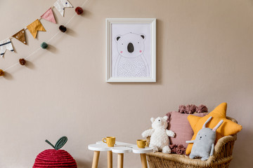 Stylish scandinavian interior of kid room with mock up poster frame, design furnitures, natural...